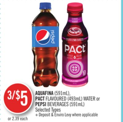 Aquafina (591ml) - Pact Flavoured (493ml) Water or Pepsi Beverages (591ml)