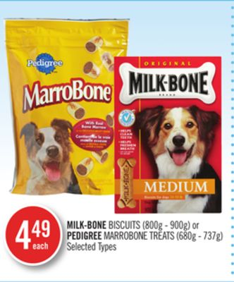 Milk-bone Biscuits (800g - 900g) or Pedigree Marrobone Treats (680g - 737g)