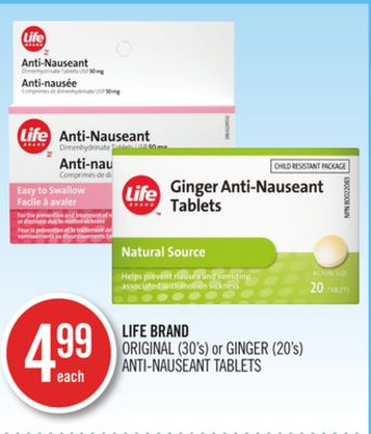 Life Brand Original (30's) or Ginger (20's) Anti-nauseant Tablets