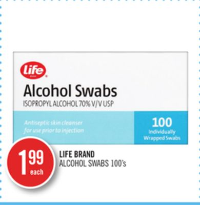 Life Brand Alcohol Swabs
