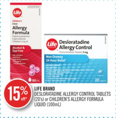 Life Brand Desloratadine Allergy Control Tablets (20's) or Children's Allergy Formula Liquid (100ml)