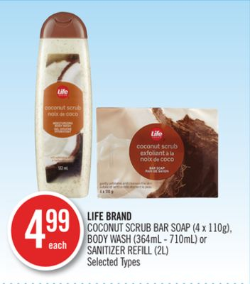 Life Brand Coconut Scrub Bar Soap (4 X 110g) - Body Wash (364ml - 710ml) or Sanitizer Refill (2l)