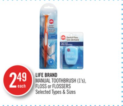 Life Brand Manual Toothbrush (1's) - Floss or Flossers