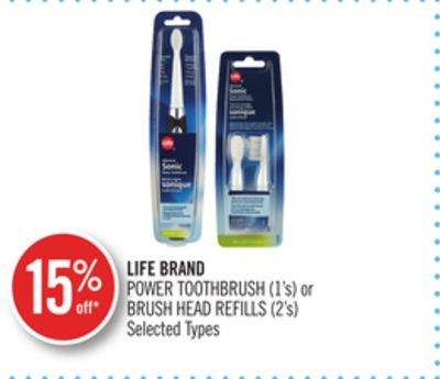 Life Brand Power Toothbrush (1's) or Brush Head Refills (2's)