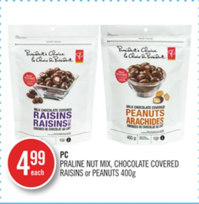PC Praline Nut Mix - Chocolate Covered Raisins or Peanuts 400g