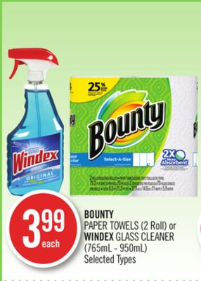 Bounty Paper Towels (2 Roll) or Windex Glass Cleaner (765ml - 950ml)