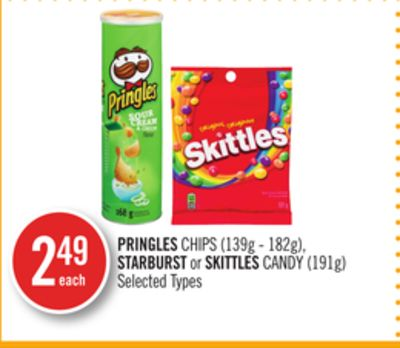 Pringles Chips (139g - 182g) - Starburst or Skittles Candy (191g)