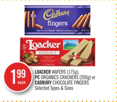 Loacker Wafers (175g) - PC Organics Crackers (200g) or Cadbury Chocolate Fingers