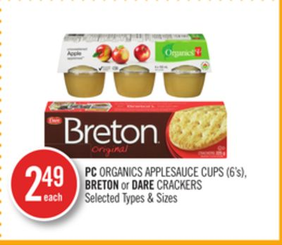 PC Organics Applesauce Cups (6's) - Breton or Dare Crackers