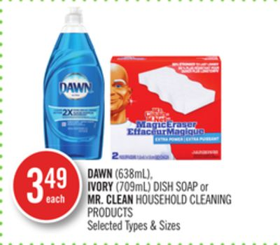 Dawn(638ml) - Ivory (709ml) Dish Soap or Mr. Clean Household Cleaning Products