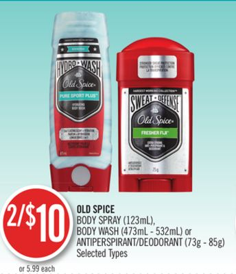 Old Spice Body Spray (123ml) - Body Wash (473ml - 532ml) or Antiperspirant/deodorant (73g - 85g)
