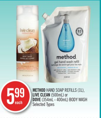 Method Hand Soap Refills (1l) - Live Clean (500ml) or Dove (354ml - 400ml) Body Wash