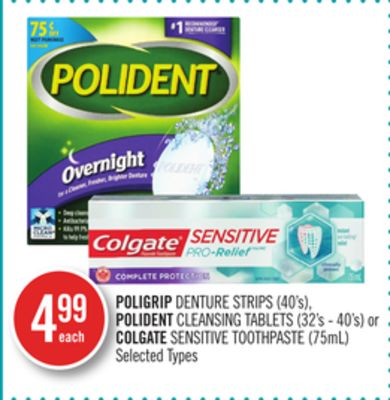 Poligrip Denture Strips (40's) - Polident Cleansing Tablets (32's - 40's) or Colgate Sensitive Toothpaste (75ml)