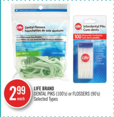 Life Brand Dental Piks (100's) or Flossers (90's)