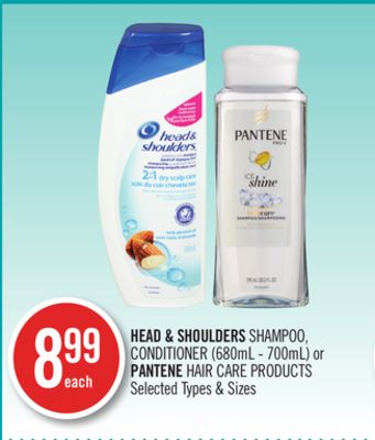 Head & Shoulders Shampoo - Conditioner (680ml - 700ml) or Pantene Hair Care Products