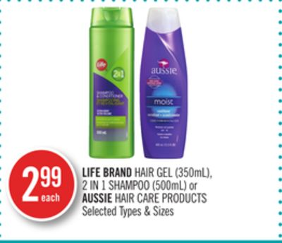 Life Brand Hair Gel (350ml) - 2 In 1 Shampoo (500ml) or Aussie Hair Care Products