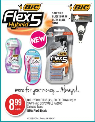 Bic Hybrid Flex5 (4's) - Soleil Glow (3's) or Savvy (4's) Disposable Razors