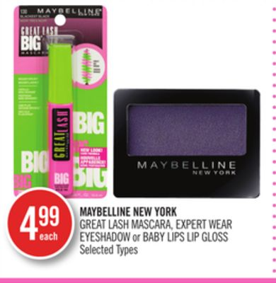 Maybelline New York Great Lash Mascara - Expert Wear Eyeshadow or Baby Lips Lip Gloss