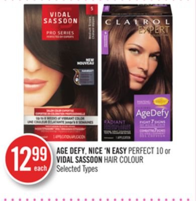 Age Defy - Nice 'N Easy Perfect 10 or Vidal Sassoon Hair Colour