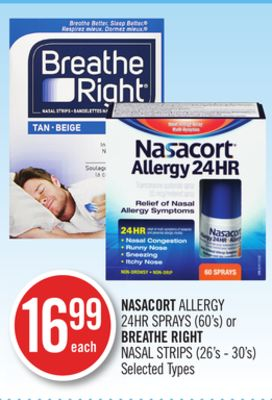 Nasacort Allergy 24hr Sprays (60's) or Breathe Right Nasal Strips (26's - 30's)