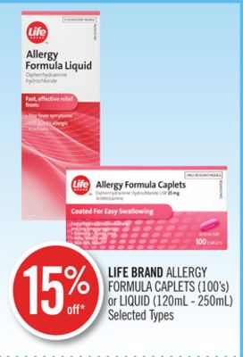 Life Brand Allergy Formula Caplets (100's) or Liquid (120ml - 250ml)