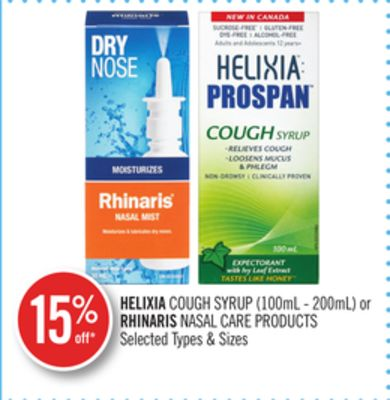 Helixia Cough Syrup (100ml-200ml) or Rhinaris Nasal Care Products