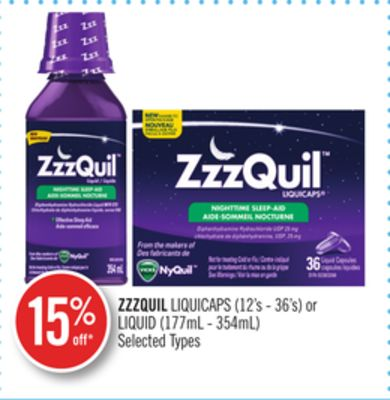 Zzzquil Liquicaps (12's - 36's) or Liquid (177ml - 354ml)