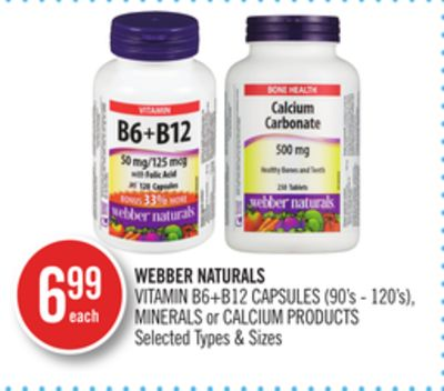 Webber Naturals Vitamin B6+b12 Capsules (90's - 120's) - Minerals or Calcium Products