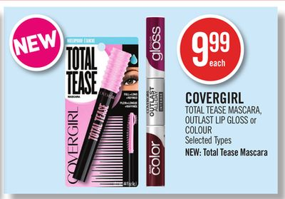 Covergirl Total Tease Mascara - Outlast Lip Gloss or Colour