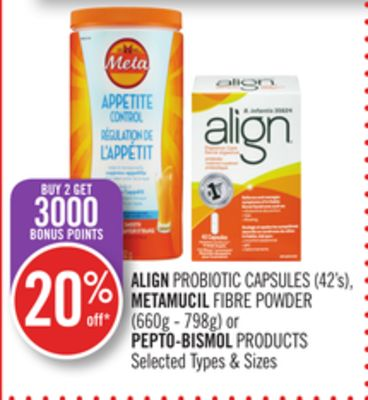 Align Probiotic Capsules (42's) - Metamucil Fibre Powder (660g - 798g) or Pepto-bismol Products