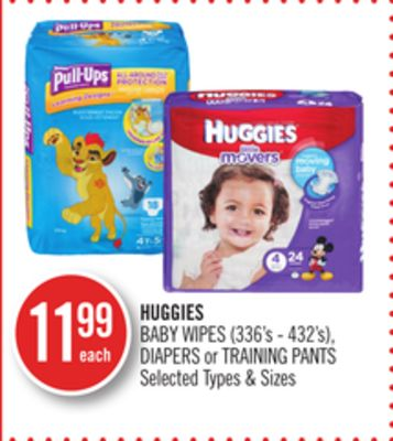 Huggies Baby Wipes (336's - 432's) - Diapers or Training Pants