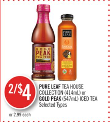 Pure Leaf Tea House Collection (414ml) or Gold Peak (547ml) Iced Tea