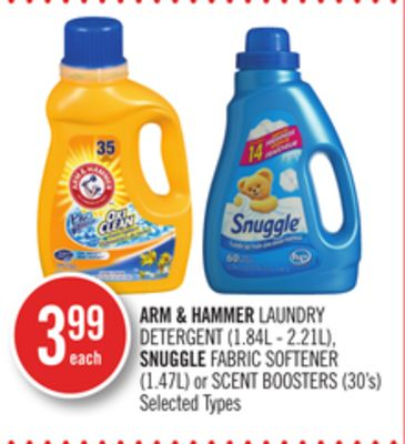 Arm & Hammer Laundry Detergent (1.84l - 2.21l) - Snuggle Fabric Softener (1.47l) or Scent Boosters (30's)