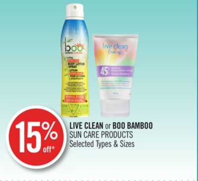 Live Clean or Boo Bamboo Sun Care Products