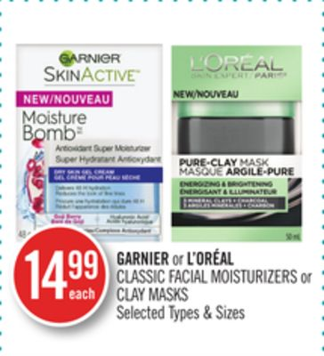 Garnier or L'oréal Classic Facial Moisturizers or Clay Masks