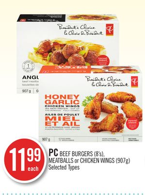 PC Beef Burgers (8's) - Meatballs or Chicken Wings (907g)