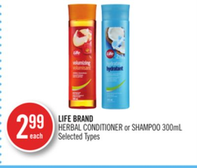 Life Brand Herbal Conditioner or Shampoo 300ml