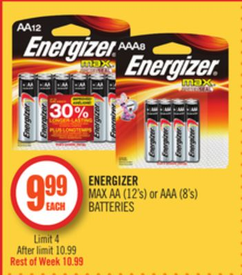 Energizer Max Aa (12's) or Aaa (8's) Batteries
