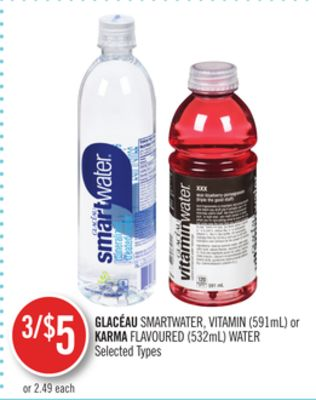 Glacéau Smartwater.vitamin (591ml) or Karma Flavoured (532ml) Water