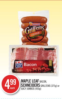 Maple Leaf Bacon - Schneiders Grill'ems (375g) or Juicy Jumbos (450g)