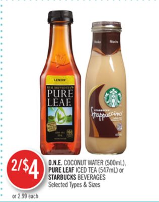 O.n.e.coconut Water (500ml) - Pure Leaf Iced Tea (547ml) or Starbucks Beverages