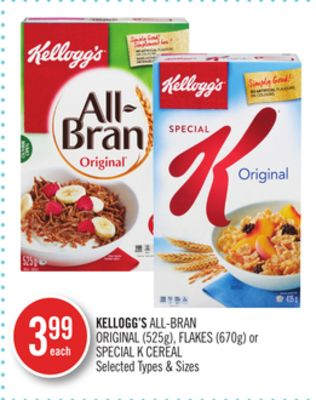 Kellogg's All-bran Original (525g) - Flakes (670g) or Special K Cereal