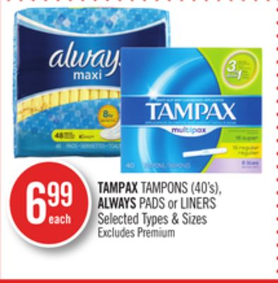 Tampax Tampons (40's) - Always Pads or Liners