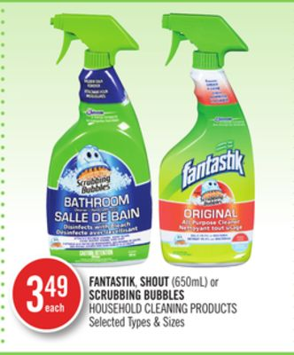 Fantastik - Shout (650ml) or Scrubbing Bubbles Household Cleaning Products