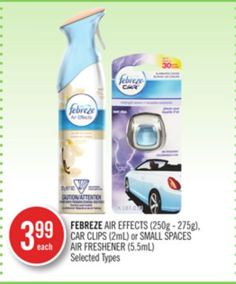Febreze Air Effects (250g - 275g) - Car Clips (2ml) or Small Spaces Air Freshener (5.5ml)