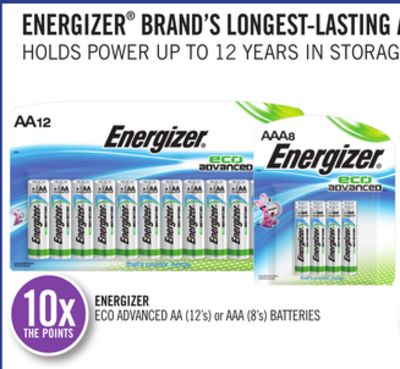 Energizer Eco Advanced Aa (12's) or Aaa (8's) Batteries
