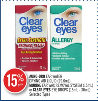 Auro-droear Water Drying Aid Liquid (29.6ml) - Murine Ear Wax Removal System (15ml) or Clear Eyes Eye Drops (15ml - 30ml)