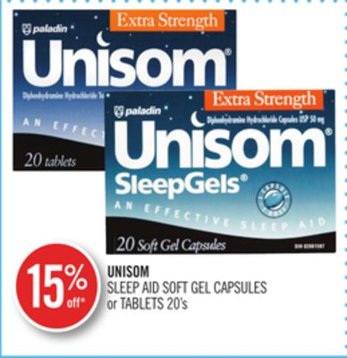 Unisom Sleep Aid Soft Gel Capsules or Tablets