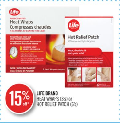 Life Brand Heat Wraps (3's) or Hot Relief Patch (6's)