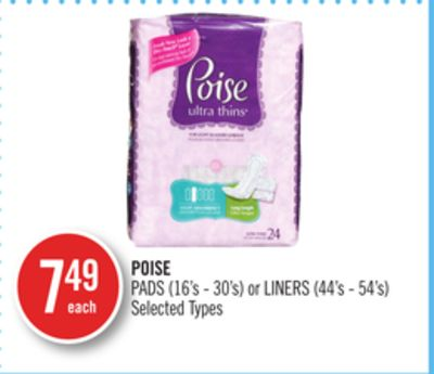 Poise Pads (16's - 30's) or Liners (44's - 54's)